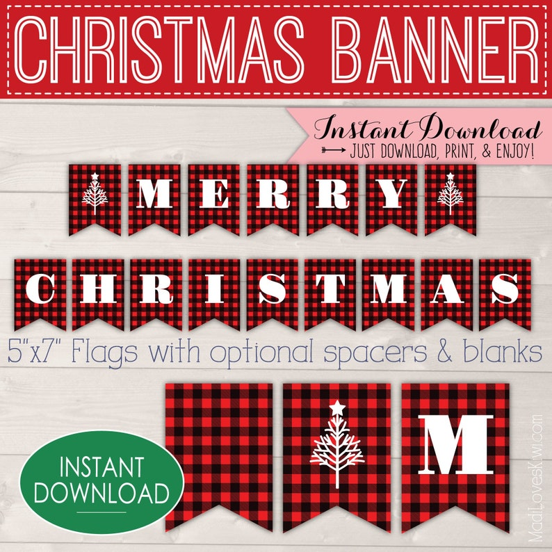 graphic relating to Merry Christmas Banner Printable identified as Buffalo Plaid Xmas Banner Printable, Purple Merry Xmas Bash Decorations, Electronic Bunting Instantaneous Down load, Do it yourself Pennant Decor Guidelines