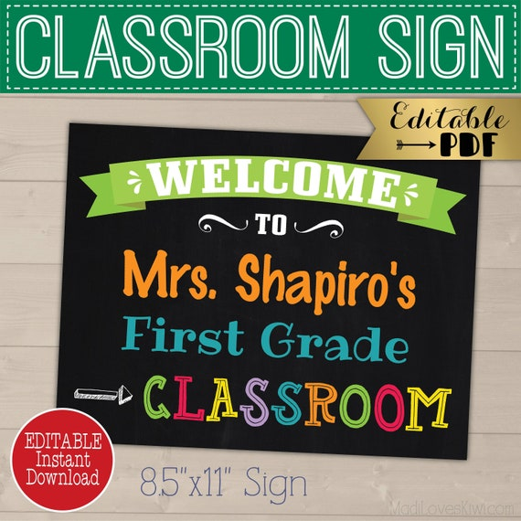 image about Printable Welcome Sign called Clroom Welcome Indication, Customized Instructor Standing Reward Recommendations