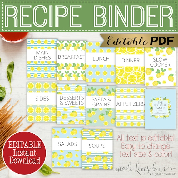 Editable Recipe Book Template Printable Lemon Binder Cover