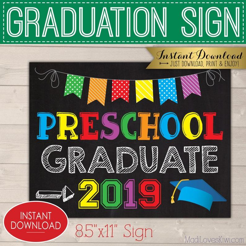 1241ac8e175 2019 Graduate Photo Prop Digital Preschool Graduation Sign