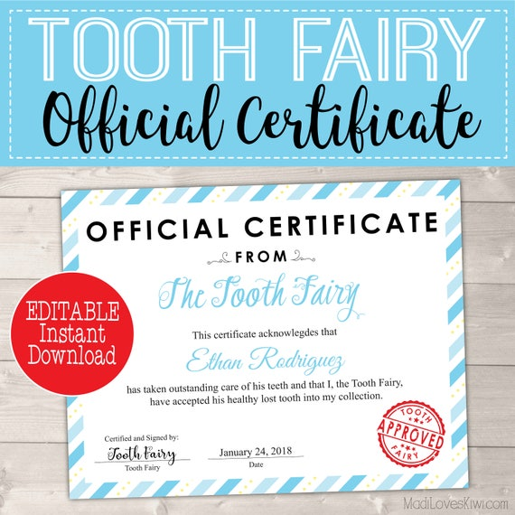 Certificate From Tooth Fairy Boy Printable Letter Missing Teeth