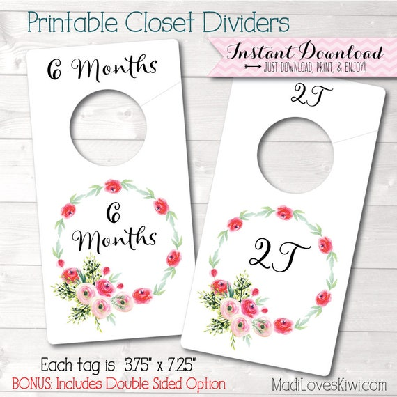 beautiful Printable Baby Closet Dividers Part - 10: Baby Closet Dividers Floral Nursery Decor Printable | Etsy