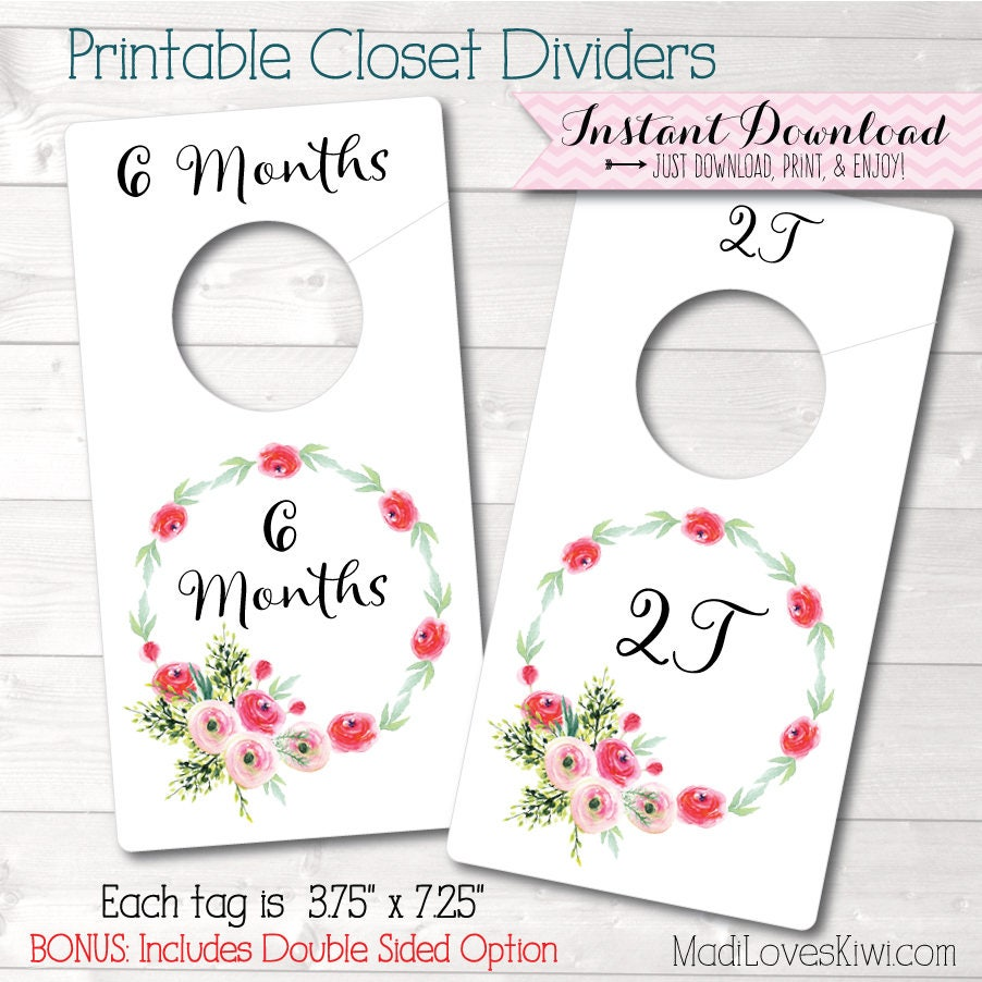 Baby Closet Dividers Floral Nursery Decor Printable Etsy