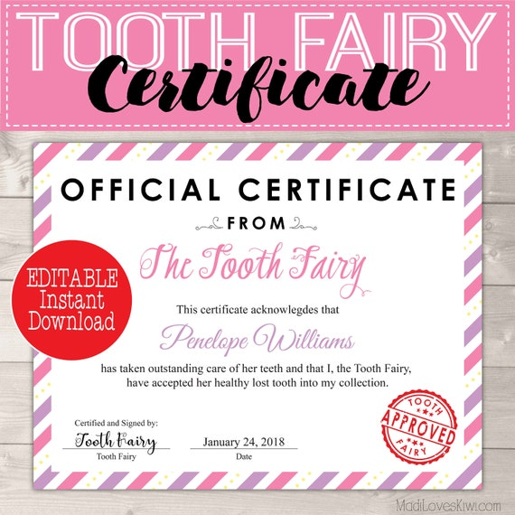 graphic about Free Printable Tooth Fairy Letters named Certification towards Teeth Fairy Printable Letter, Innovative Misplaced
