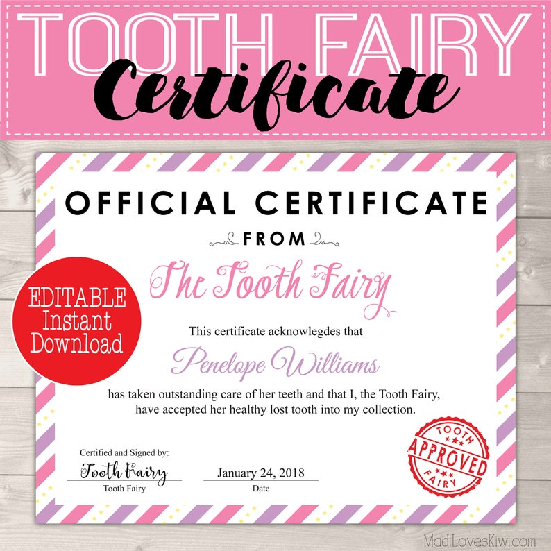 picture about Tooth Fairy Printable Letter called Certification versus Teeth Fairy Printable Letter, Innovative Dropped Enamel Options, Initial Teeth Package Template Woman PDF Letterhead Ultimate Instant Reward Principle