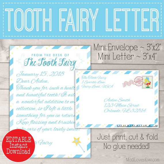 image relating to Free Printable Tooth Fairy Letter and Envelope called Tailored Enamel Fairy Letter Package Boy, Printable Obtain