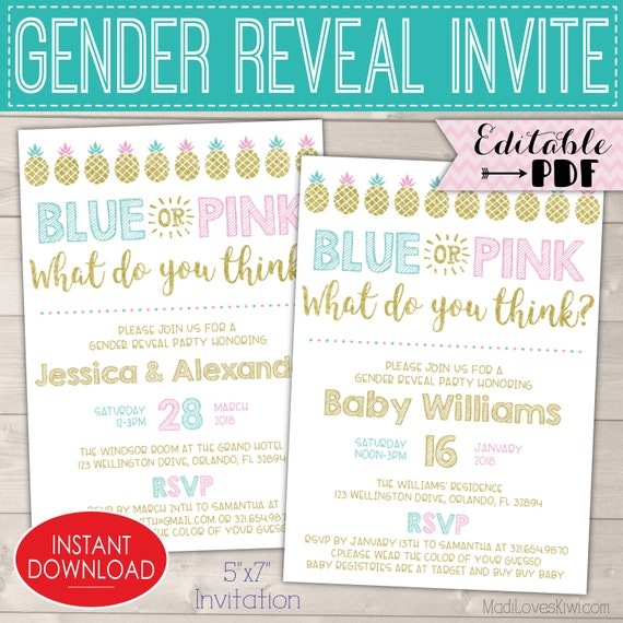 Blue Pink Gender Reveal Invitations Pineapple Party