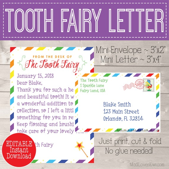 photo relating to Tooth Fairy Card Printable referred to as Rainbow Teeth Fairy Letter, Enamel Fairy Keepsake, Initially Missing
