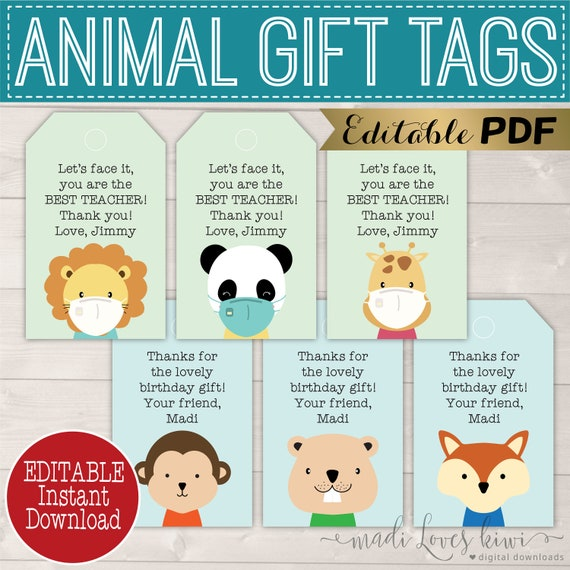 Editable Teacher Gift Tag For Face Mask Printable Animal Birthday Party Thank You Tag Reusable Woodland Pdf Template Appreciation End Year By Madi Loves Kiwi Printables Shop Catch My Party