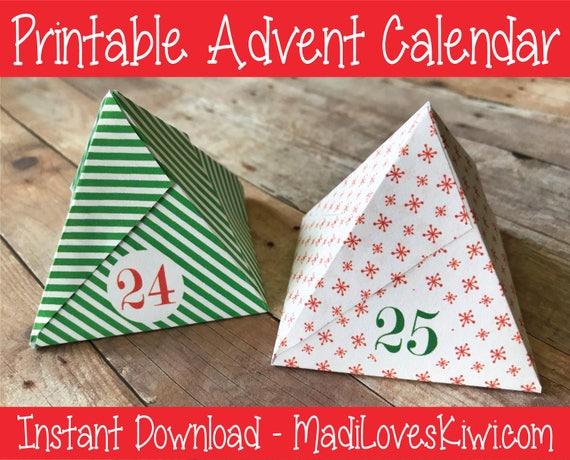 Christmas Countdown Ideas.Printable Advent Calendar Boxes Instant Download Christmas