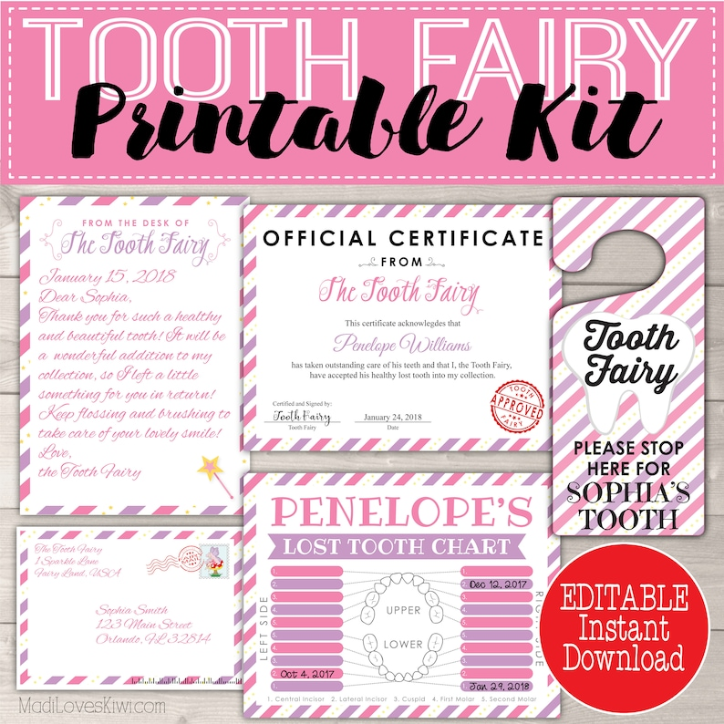graphic relating to Free Printable Tooth Fairy Letters called Letter versus Teeth Fairy, Letters Package, Tooth Tracker PDF, Printable Doorway Hanger, Missing Chart Lady Reward Observe Preset Very first Electronic Fast Down load