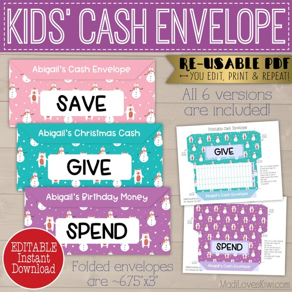 Printable Cash Envelopes For Kid Save Give Spend Editable Christmas Money Log Personalized Budget Tool Instant Download Snowman Bear Girl By Madi Loves Kiwi Printables Shop Catch My Party