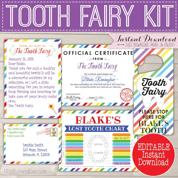 photograph about Tooth Fairy Printable Letter named Printable Letter in opposition to Teeth Fairy Package Instantaneous Down load, Shed