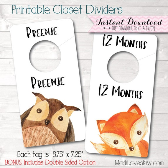 image regarding Printable Closet Dividers called Boy or girl Closet Dividers, Woodland Nursery Decor, Printable