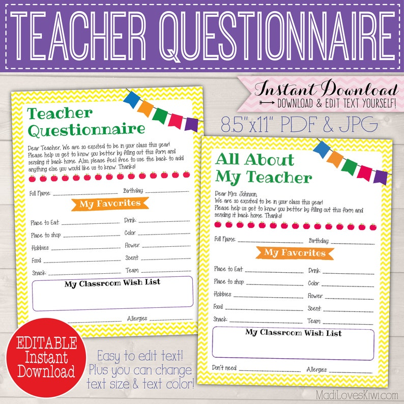 picture regarding All About My Teacher Free Printable titled Customized Trainer Reward Strategies Questionnaire, Printable House Mother Back again in the direction of College Type, Cl Motivation Listing for Conclusion Calendar year Appreciation PTA PTO Staff members PDF