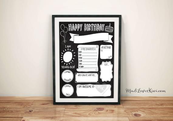 Birthday Chalkboard Template Reuseable Birthday Sign