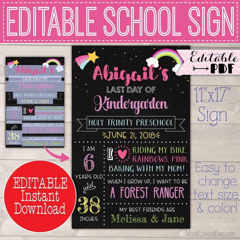 Rainbow First Day of School Sign Reusable Printable Girl Poster PDF Template Back 1st End Last Day Chalkboard Photo Prop Instant Download