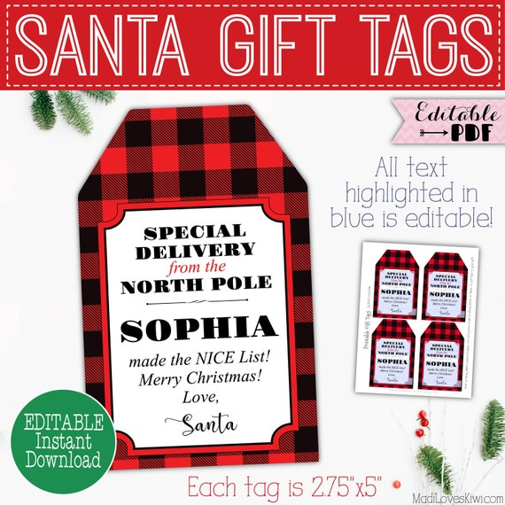 picture about Printable Santa Gift Tags called Exceptional Transport against North Pole Reward Tag Printable, Custom made Santa Xmas Demonstrate Quick Down load, Plaid Editable Template Electronic