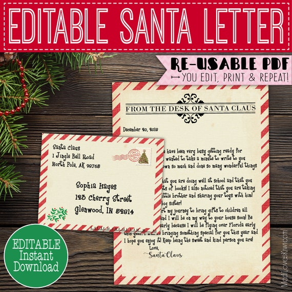 Printable Letter From Santa Claus Customized Santa Letter Editable