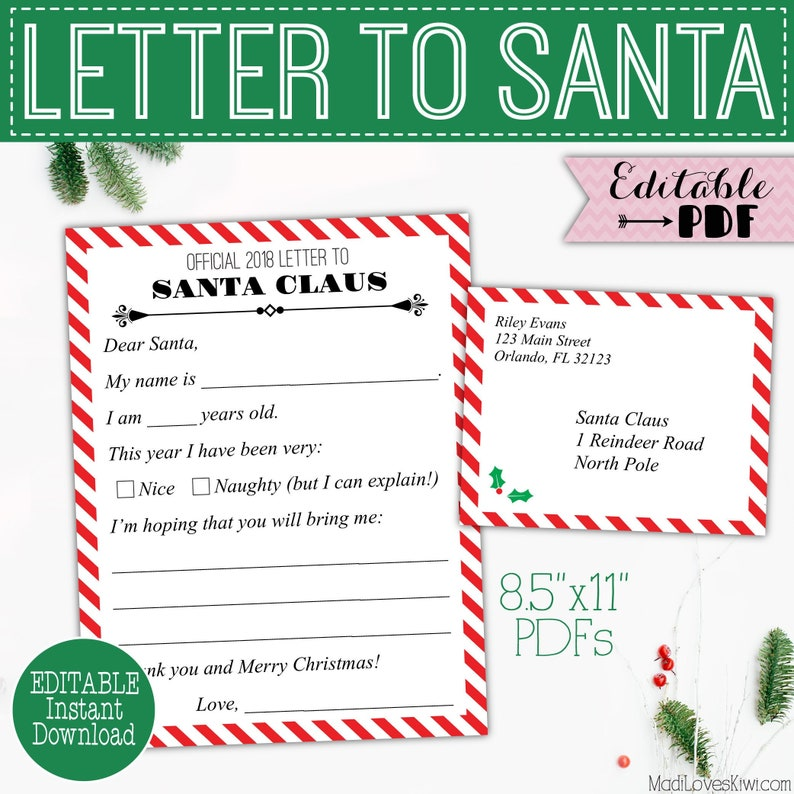 image relating to Printable Letter Explaining Santa named Printable Letter in the direction of Santa Package, Reusable Send out in opposition to Little ones Envelope Template, Electronic Xmas Wishlist, Expensive North Pole Reward Editable Down load