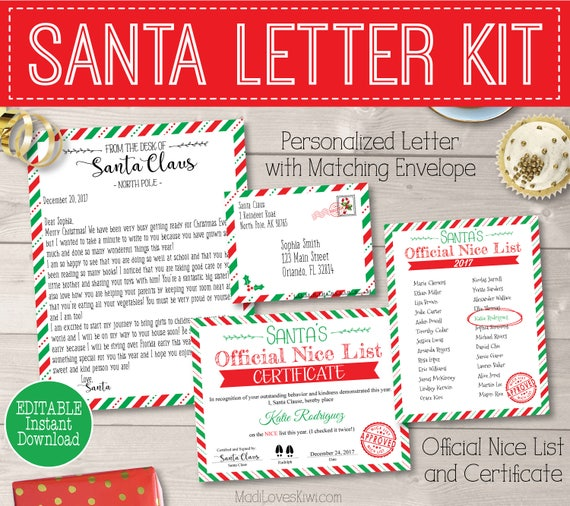 photo relating to Letter From Santa Template Printable referred to as Custom-made Santa Letter Package Printable, Santas Awesome Listing Certification, Letter towards Santa Claus Electronic PDF Template North Pole Reusable Crimson