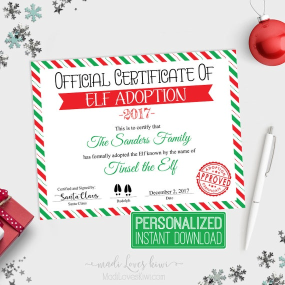 Personalized Elf Adoption Certificate Printable Official Adopt