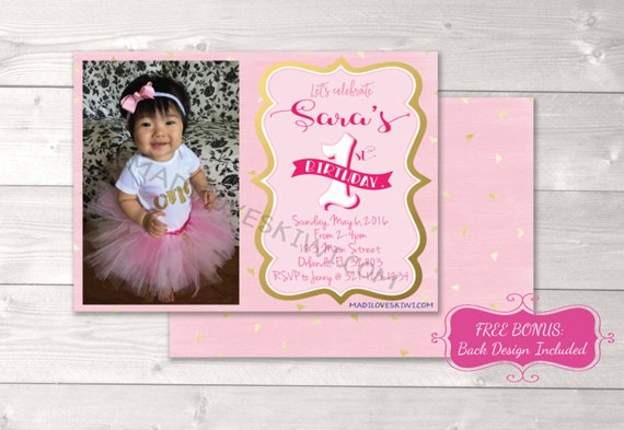 Pink And Gold Birthday Invitation Personalized Printable First Invites Girl FREE Back Design