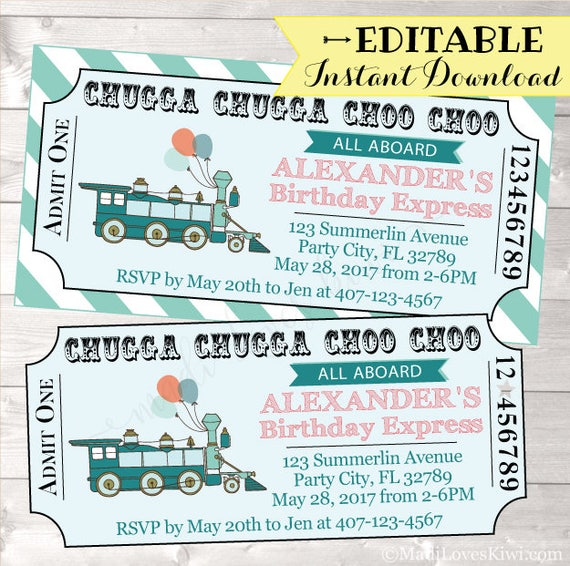 Train Birthday Invitation Ticket Boy Template Party