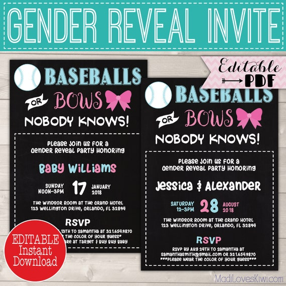 10 x Gender Reveal Invitations
