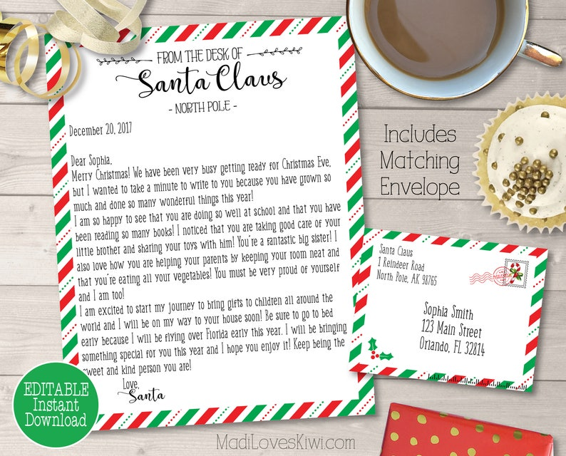 graphic about Printable Letter From Santa identify Custom made Letter versus Santa Printable, Custom-made Envelope Template, Dad Xmas North Pole Send, Electronic PDF Self Enhancing Claus Cam