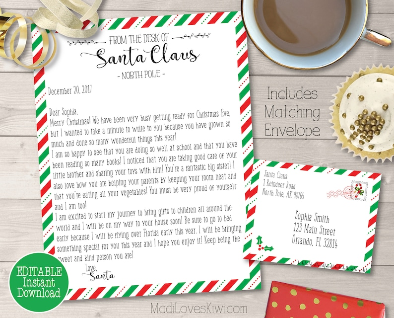 photograph regarding Letter From Santa Printable named Custom made Letter versus Santa Printable, Personalized Envelope Template, Dad Xmas North Pole Send out, Electronic PDF Self Enhancing Claus Cam