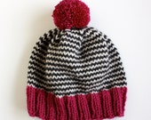SALE The Stripe-A-Thon Hat in Magenta, Heather Black, & Platinum - Made to Order