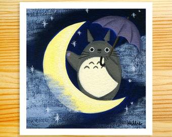 Totoro On The Moon 5x5 Art Print