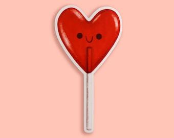 Heart Lollipop Candy Vinyl Sticker