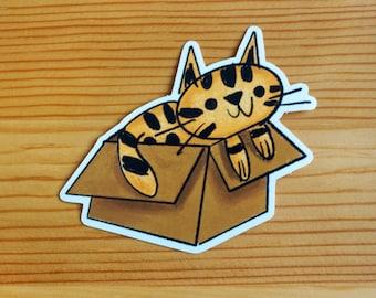 Cat In a Box Vinyl Sticker