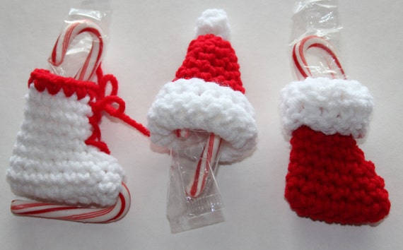 Mini Candy Cane Holder Christmas Ornaments Crochet Pattern Etsy