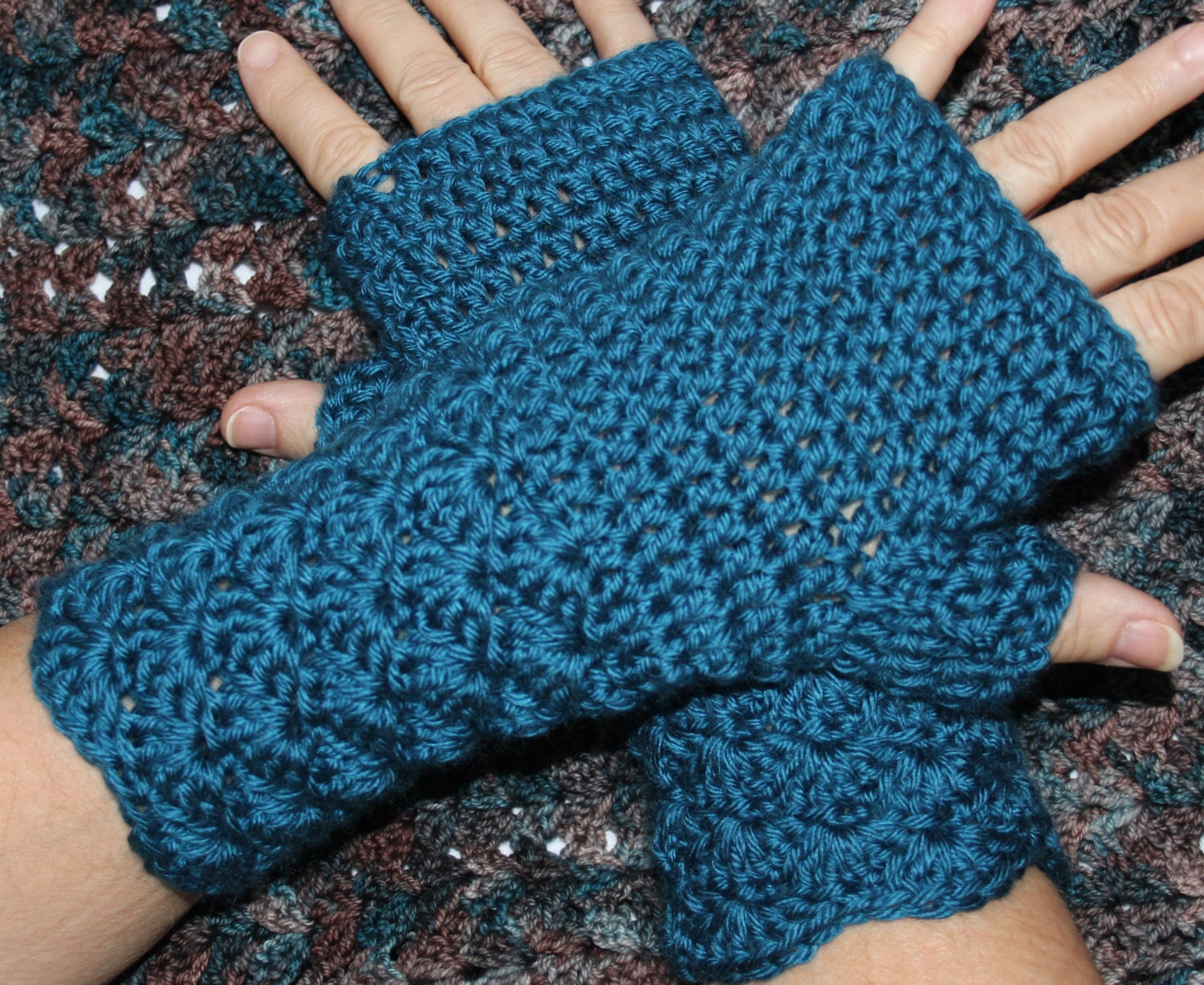 Shell Stitch Fingerless Mitts Mittens Gloves Arm Wrist Warmers Etsy