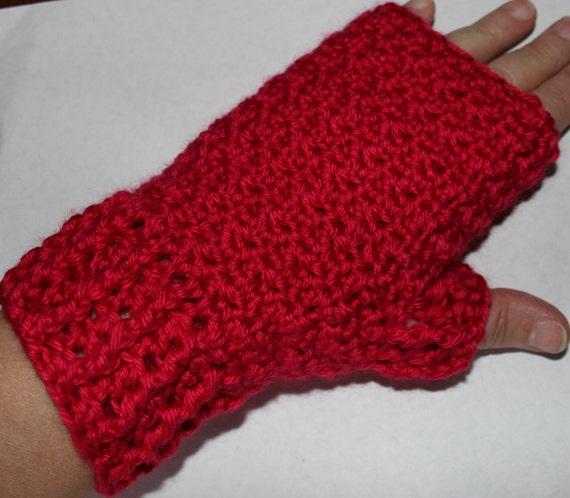 Ruby Red Fingerless Mitts Mittens Gloves Crochet Pattern Caron Etsy
