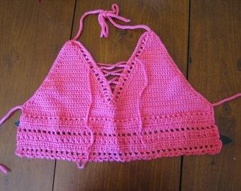 Hot Pink Halter Top Crochet Pattern