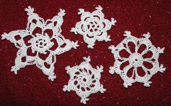 Four Easy Snowflakes Thread Crochet Pattern Etsy