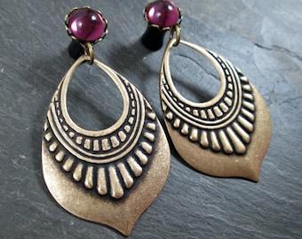 Tribal Plugs - 10g - 8g - 6g - 4g - 2g - 0g - Gothic Gauges - Antiqued Brass - Dangle Plugs - Wedding Gauges
