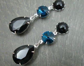 Dangle Plugs - 10g - 8g - 6g - 4g - 2g - 0g - Wedding Gauges - Blue and Black - Wedding Plugs - Gothic Plug Earrings - Bridal Gauges