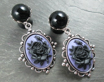"Rose Dangle Plugs - 9/16"" 14mm - 5/8"" 16mm - Wedding Gauges - Plug Earrings - Dangle Gauges - Gothic Wedding - Black Rose Plugs"