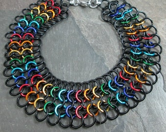 Chainmaille Choker - Rainbow Chainmaille - Pride Necklace - Rainbow Jewelry - Chainmail Necklace - Pride Jewelry