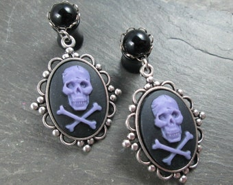 Dangle Plugs - 10g - 8g - 6g - 4g - 2g - 0g - Wedding Plugs - Gothic Wedding - Plug Earrings - Wedding Gauges - Skull and Crossbones Plugs