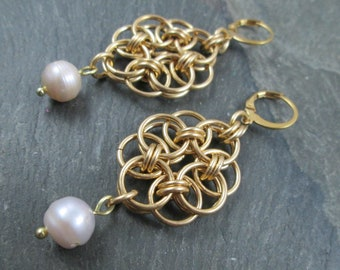 Chainmaille Earrings - Brass Helm Weave - Bridal Earrings - Chainmail Jewelry - Wedding Jewelry - Prom Earrings - Freshwater Pearl