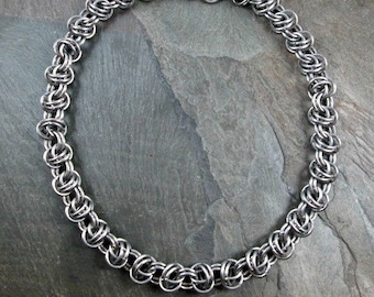 Chainmaille Necklace - Stainless Steel Chain - Barrel Weave - Steel Chainmail - Chainmaille Jewelry - Men's Necklace