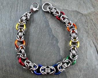 Chainmaille Bracelet - Pride Bracelet - Rainbow Jewelry - Byzantine Weave - Chainmaille Jewelry - Rainbow Bracelet - Pride Jewelry