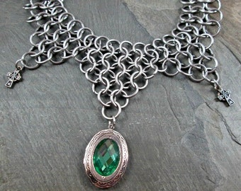 Celtic Necklace - Chainmaille Necklace - Chainmaille Jewelry - Steel Chainmail - Celtic Cross - Locket Necklace