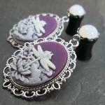 "Dangle Plugs, 12g, 10g, 8g, 6g, 4g, 2g, 0g, 00g, 1/2"", 9/16"", 5/8"", Gagued Plug Earrings, Dragonfly Jewelry, Purple and White, Summer Bridal"